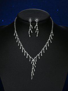 Rhinestoned Pendant Embellished Bridal Jewelry Set - Silver