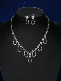 Water Drop Rhinestoned Wedding Jewelry Set - Silver