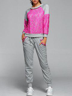 Sweatshirt With Pants Twinset - Rose Red Xl