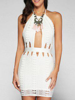 Backless Cutout Bodycon Dress - White S