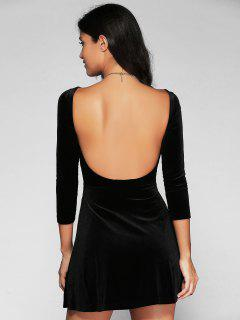 Open Back Mini Fit And Flare Dress - Black S
