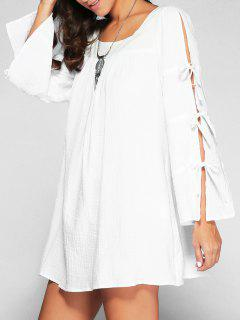 Lace Up Flare Sleeve Swing Dress - White 2xl