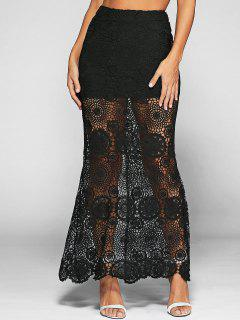 Split Que See-Through Maxi Falda De Encaje - Negro M