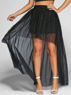 Voile High-Low Ball Gown Maxi Skirt - Black 2xl