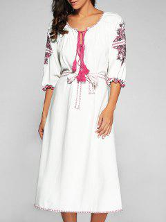 Belted Embroidered Midi Dress With Sleeves - Off-white S