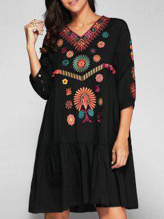Embroidered Smock Dress - Black S