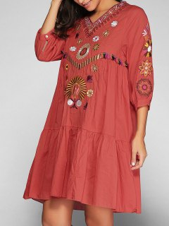 Vestido De Bata Con Bordado - Jacinto S