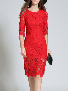 Round Neck 3/4 Sleeve Full Lace Bodycon Wedding Dress - Red S