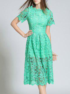 Short Sleeve Hollow Out Scalloped Lace Dress - Green 2xl