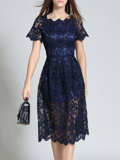 Short Sleeve Hollow Out Scalloped Lace Dress - Purplish Blue M