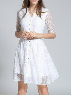 V Neck Half Sleeve Lace A Line Dress - White 2xl