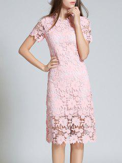 Ruff Neck Sheath Lace Prom Cocktail Dress - Pink S
