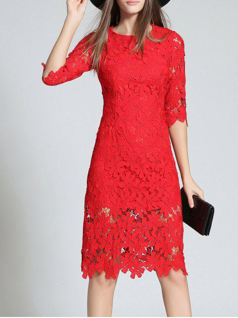 unique Round Neck 3/4 Sleeve Full Lace Bodycon Wedding Dress - RED L Mobile