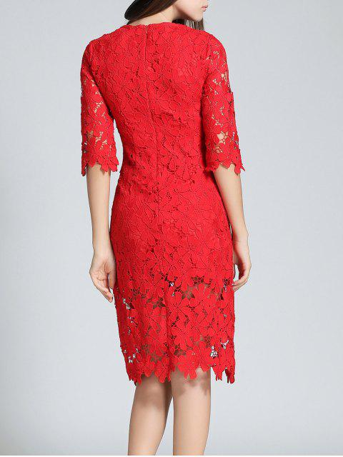 affordable Round Neck 3/4 Sleeve Full Lace Bodycon Wedding Dress - RED S Mobile