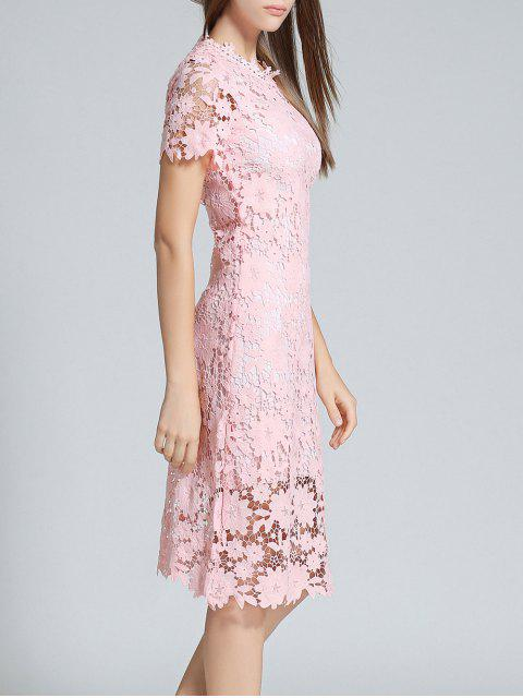 latest Ruff Neck Sheath Lace Prom Cocktail Dress - PINK 2XL Mobile