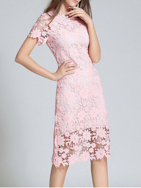 chic Ruff Neck Sheath Lace Prom Cocktail Dress - PINK S Mobile