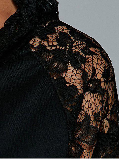 ladies Front Pocket Lace Insert Hoodie - BLACK XL Mobile