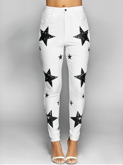 outfit Pentagram Print Slimming Pencil Jeans - WHITE L Mobile