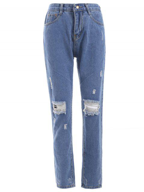 shop Fresh Distressed Ripped Loose-Fitted Pencil Jeans - DENIM BLUE S Mobile