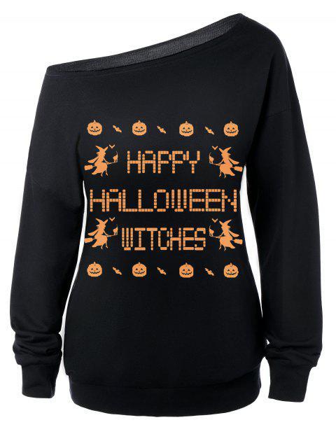 Sweat-shirt Encolure Cloutée Halloween Imprimé Message - Noir XL Mobile