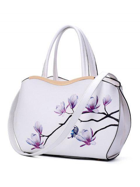 women Metal Magnolia Print Tote Bag - WHITE  Mobile