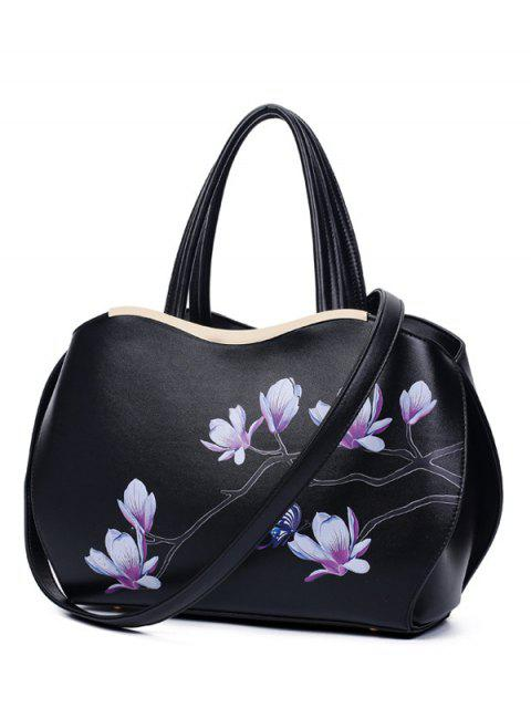 women's Metal Magnolia Print Tote Bag - BLACK  Mobile