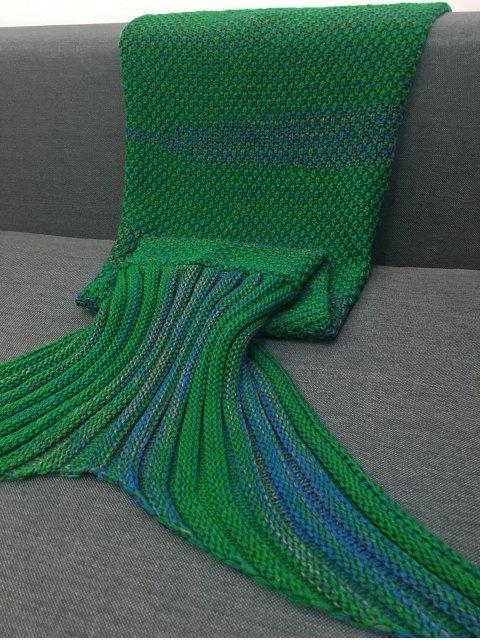 fashion Stripe Knitted Mermaid Tail Blanket - GREEN  Mobile