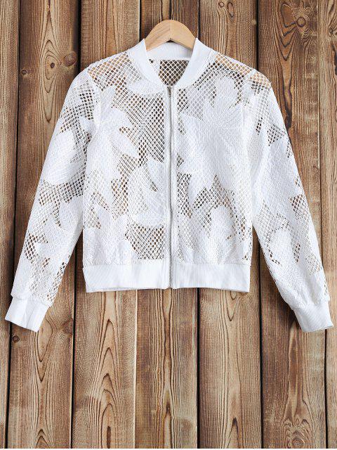 Ajouré See-Through Crochet Jacket - Blanc M Mobile
