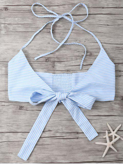 hot Striped Halter Wraped Tank Top - LIGHT BLUE M Mobile