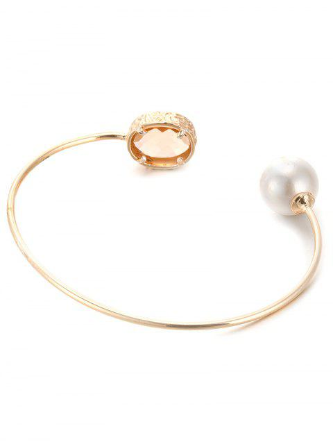 affordable Faux Crystal Pearl Cuff Bracelet -   Mobile