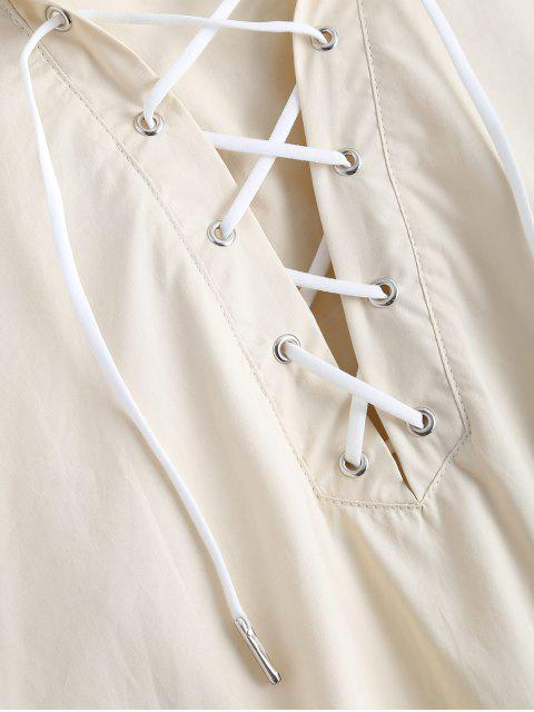 fashion Side Slit Hooded Lace Up Pullover Cape - OFF-WHITE L Mobile