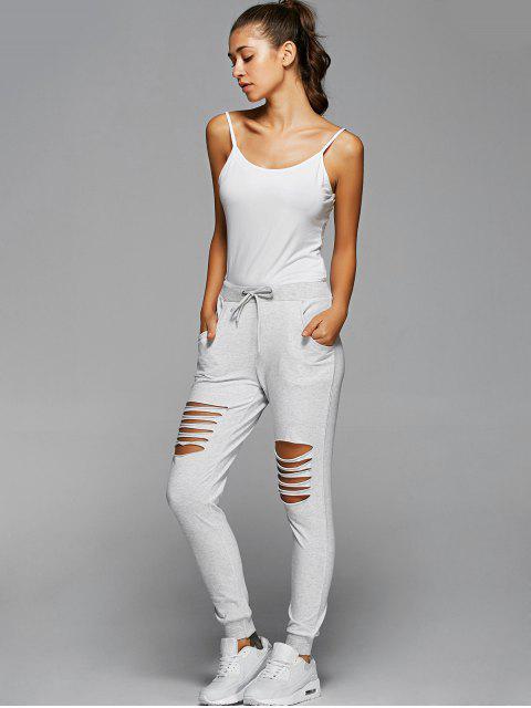online Drawstring Distressed Pants - LIGHT GRAY M Mobile