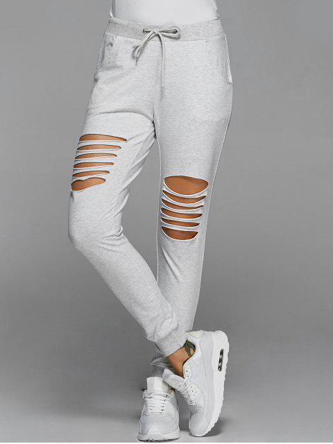 new Drawstring Distressed Pants - LIGHT GRAY S Mobile