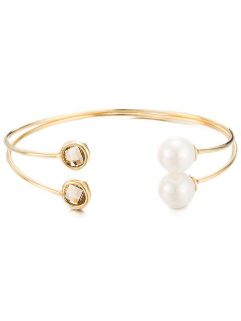 lady Faux Crystal Pearl Layered Cuff Bracelet -   Mobile