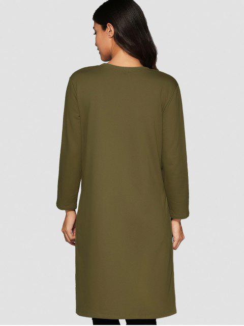 unique High Low Spliced Longline Sweatshirt - GREEN ONE SIZE Mobile