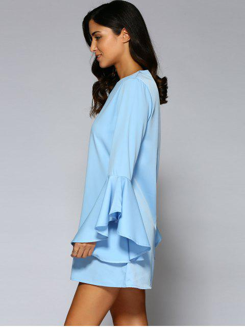 lady Loose Round Neck Flare Sleeve Chiffon Dress - BLUE 2XL Mobile