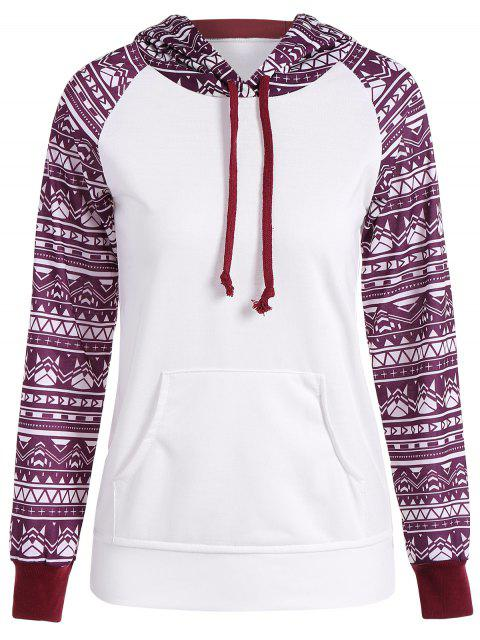 fashion Big Pocket Pullover Printed Hoodie - WHITE M Mobile
