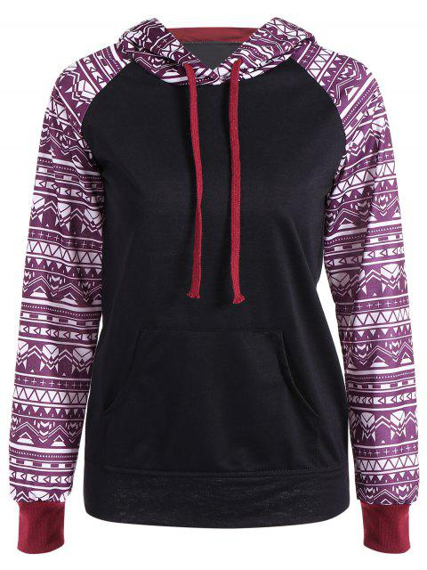 Big Pocket-Pullover Printed Hoodie - Schwarz M Mobile