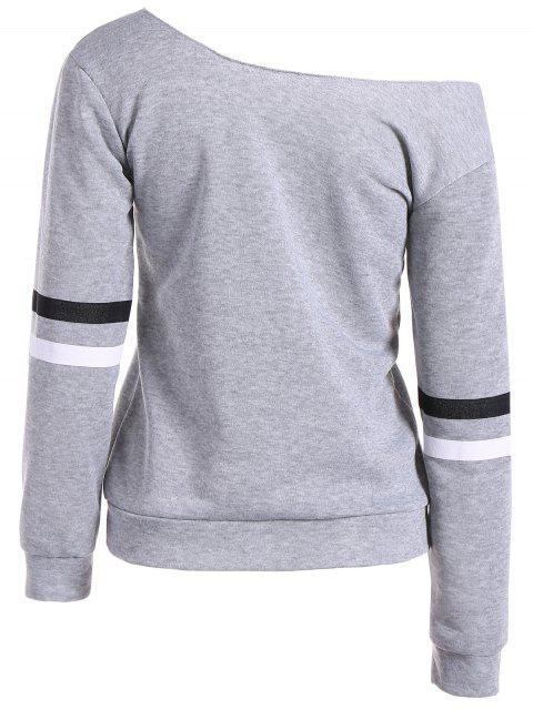 women's Skew Neck Graphic Sweatshirt - GRAY S Mobile