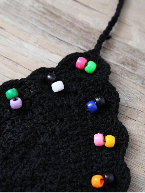 best Halter Beaded Crochet Swim Top - BLACK ONE SIZE Mobile