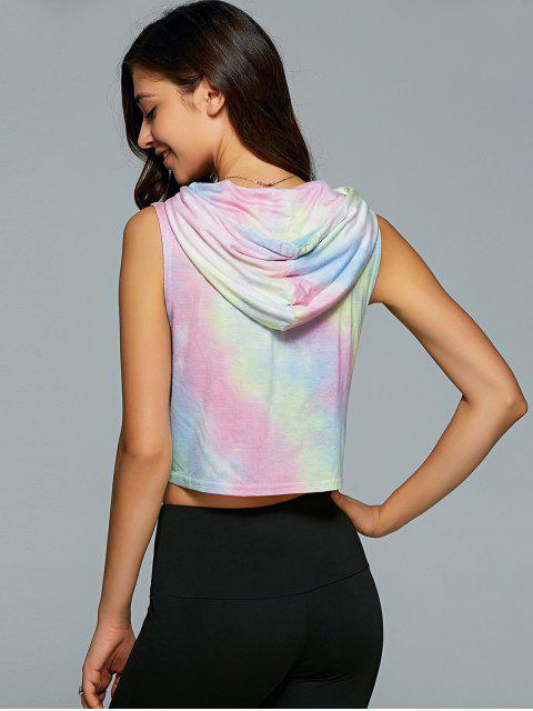 latest Hooded Tie Dye Crop Top - SHALLOW PINK L Mobile