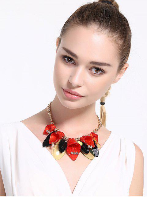 Legierung Strassperlen-Blumen-Halskette - Rot  Mobile