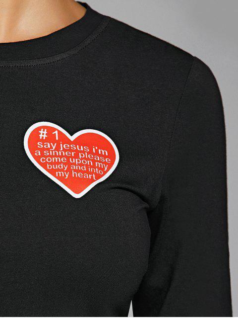 new Round Neck Heart Print Bodycon Dress - BLACK M Mobile