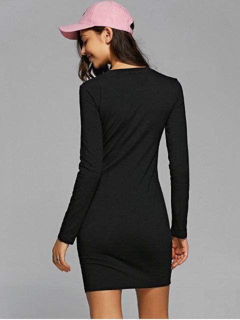 online Round Neck Heart Print Bodycon Dress - BLACK L Mobile