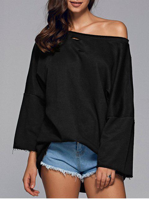 online Ripped Sloping Shoulder Sweatshirt - BLACK S Mobile