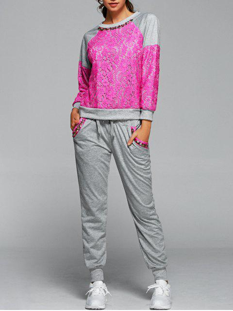 hot Sweatshirt With Pants Twinset - ROSE RED S Mobile