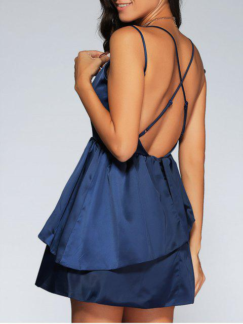women Backless Criss-Cross Semi Formal Cami Dress - PURPLISH BLUE L Mobile