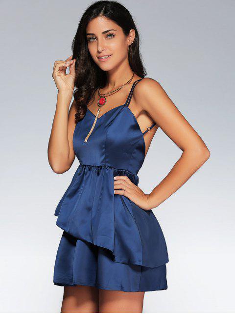 women's Backless Criss-Cross Semi Formal Cami Dress - PURPLISH BLUE M Mobile