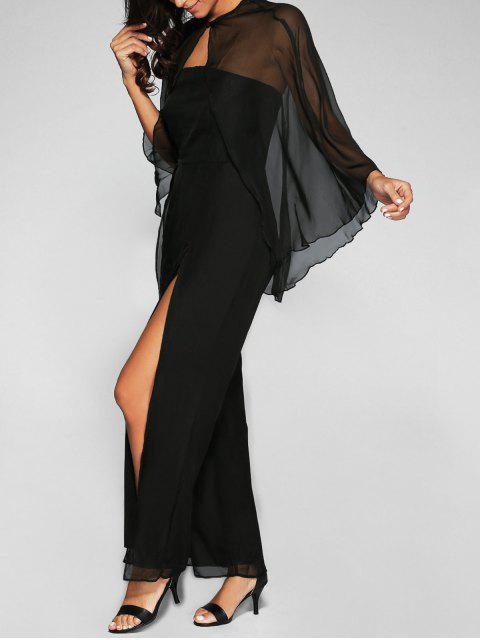 fancy High Slit Bandeau Jumpsuit and Cape - BLACK L Mobile