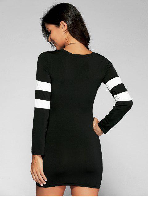 chic V Neck Stripes Bodycon T Shirt Dress - BLACK S Mobile